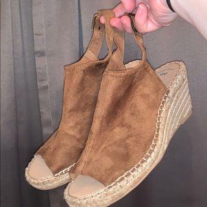 espadrille peep toe wedges